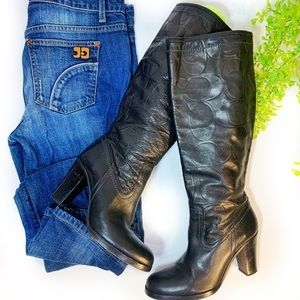 Coach Knee High Black Leather Boots